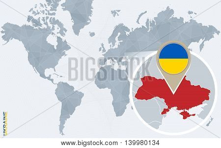 Abstract Blue World Map With Magnified Ukraine.