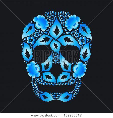 Skull of Russian folk Khokhloma pattern on a dark background
