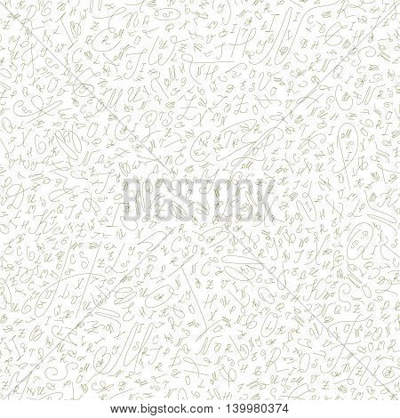 seamless abstract background of the alphabet in ballpoint pen olive handwritten style