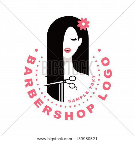 Hair salon with pretty women face and scissors silhouette