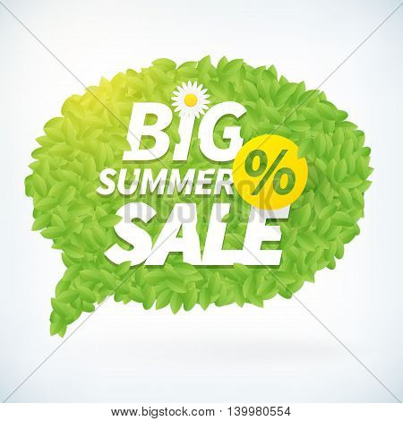 Seasonal big summer sale business advertisement text on leafs speech bubble background. Editable vector icon.
