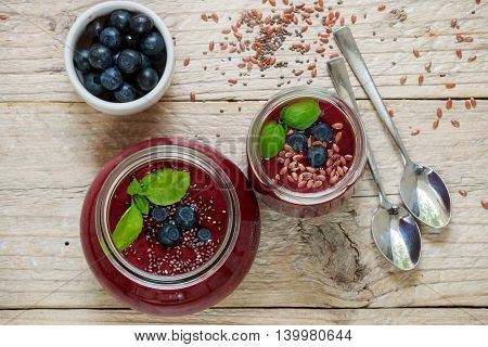 Healthy Breakfast. Summer Dessert. Smoothies Of Blueberries With Chia Seeds And Flax Seed And Fresh