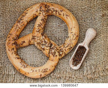 Pretzel with caraway seeds and sea salt