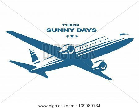 Flying an airplane trip, white background, emblem