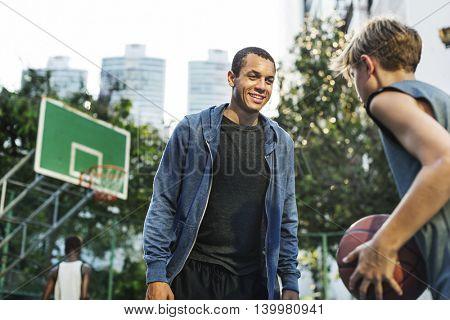 Basketball Lesson Outdoors Boy Concept