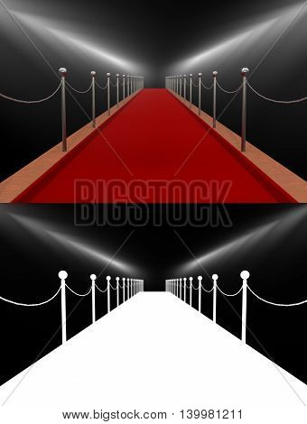 Red carpet rewarding spotlights. Isolated. 3D illustration