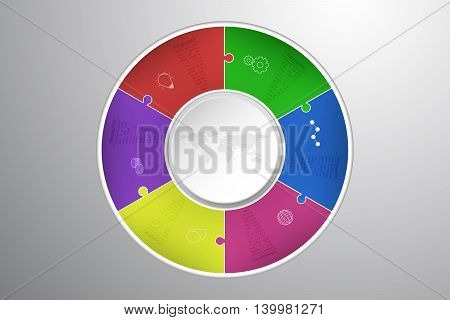 Modern six steps rounded infographics with puzzle shapes. Modern 6 steps circular infographic with outline icons in jigsaw shape. Modern business diagram with dotted world map representing process or connection.