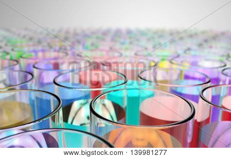 Test tubes with liquid of different colors leaving the term. 3D illustration