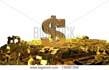 Dollar sign on a pile of other currency symbols. 3D illustration