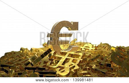 Euro sign on a pile of other currency symbols. 3D illustration