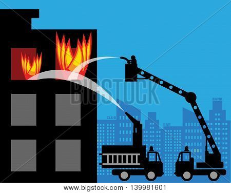 Abstract Fire trucks in the city, vector illustration