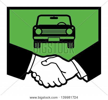 Car symbol and business handshake, vector illustration