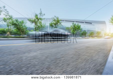 City road with moving traffic,tianjin china.