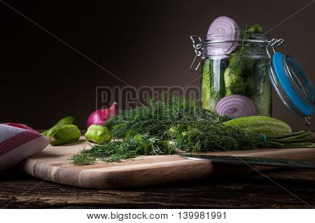 Preservation Cucumber With Dill And Onion