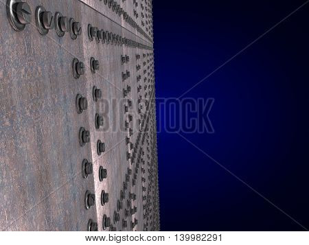 Metal plates bolted leaving the prospect of a dark blue background. 3D illustration
