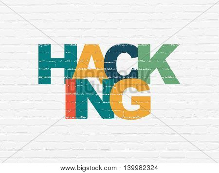 Safety concept: Painted multicolor text Hacking on White Brick wall background