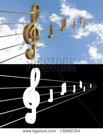 Music Background with Treble Clef. 3D illustration. Alpha channel