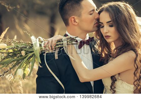 Wedding Embracing Couple
