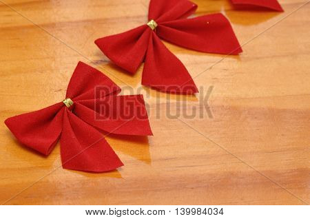Red ribbons to decorate a Christmas tree