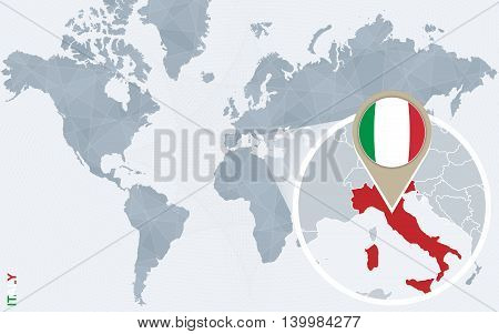 Abstract Blue World Map With Magnified Italy.