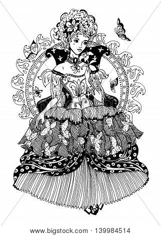 Elegant beautiful princess with butterflies. Digital stamp. Drawing for coloring book.