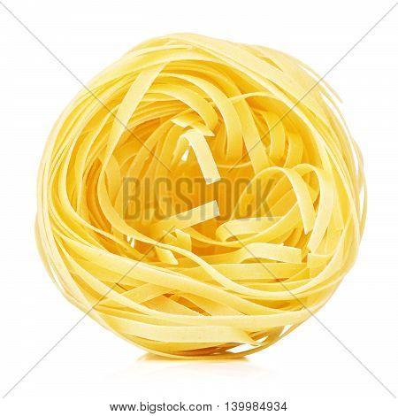 raw pasta tagliatelle nest, isolated on white