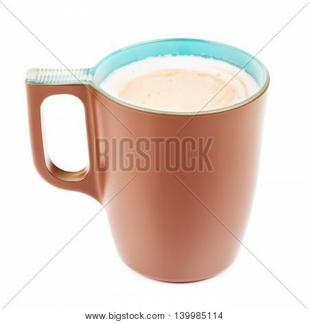 brown mug with cappuccino, isolated on white background