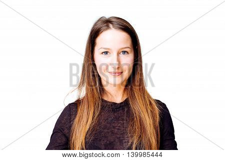 Portrait of a young angelic woman smiling at the photographer - isolated on white.