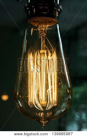 Closeup of a vintage electric incandescent lamp