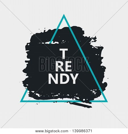 Abstract handdrawn background. Hand painted ink black smear with rough edges and blue thin triangle frame isolated on white backdrop. Empty template - Trendy Vector illustration