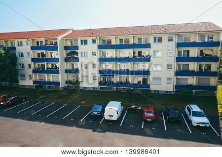 Modern block of flats and parking in Maintal Germany