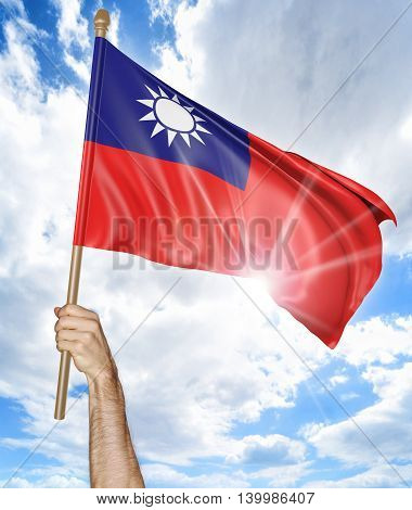 Person's hand holding the Taiwanese national flag and waving it in the sky, 3D rendering