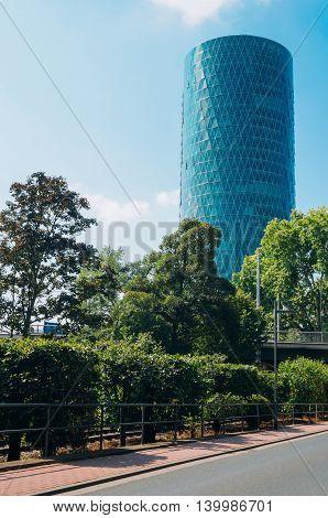 View of modern skyscraper in Frankfurt Germany