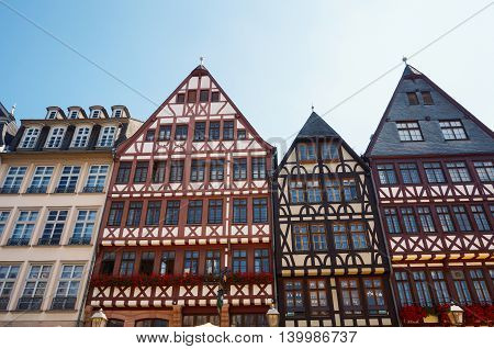Old traditional buildings in Romplatz the center of Frankfurt Germany