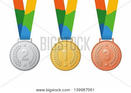 Gold silver bronze medals. Color ribbon. First second third place on summer games.