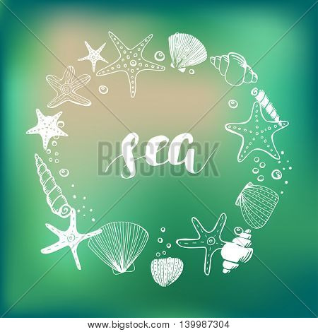 Sea shells and corals background. Sea and ocean life concept. Hand drawn sea elements shells, stars and corals in a circle shape frame