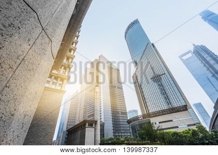financial district in shanghai,china.