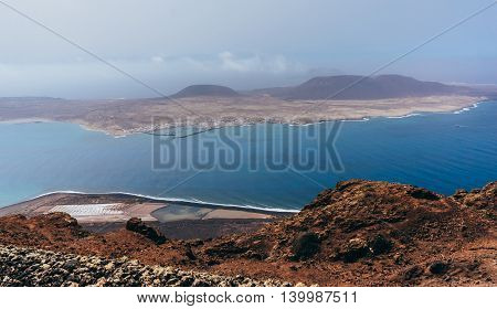 Beautiful aerial view of Lanzarote island in Spain