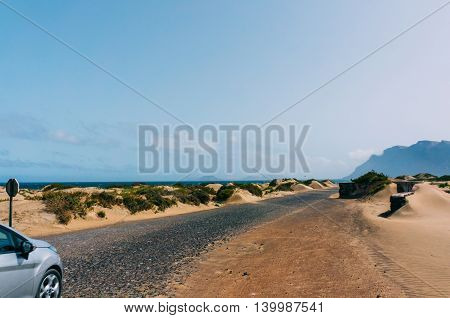 Canary Island Spain - June 26 2014: Road trip on volcanic island.