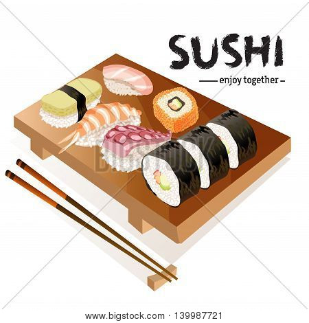 Various types of sushi on gete plate and chopsticks isolated on white background. Japanese traditional cuisine banner. Text sushi enjoy together. For sushi bar design. Vector illustration stock vector.