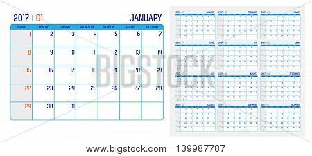 Vector Of Calendar 2017 Year ,12 Month Calendar With Simple Basic Grid Clean Style,week Start At Sun