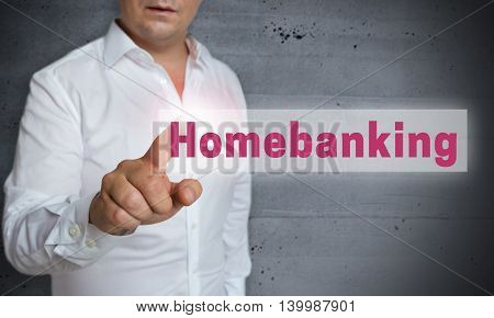 Home Banking Touchscreen Is Operated By Man