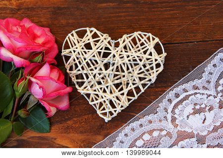 romantic heart with roses for the holiday Valentine's Day