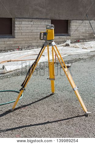A geodetic device on the construction site.