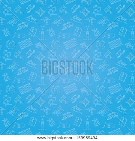 Seamless background pattern of cargo, shipping freight transport and logistics symbols
