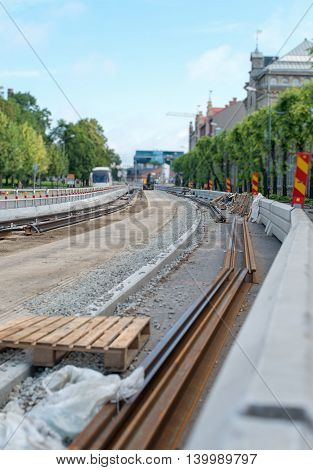 Construction site of tram railways in the city.
