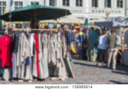 Blurred market in old town. Suitable for background.
