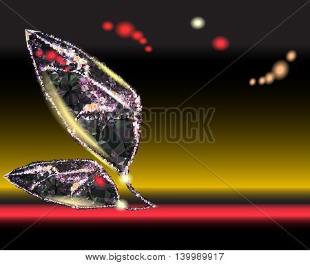 Abstract glowing background with shiny black object of crystals
