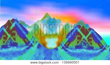 Abstract surreal mountain landscape of polygonal shapes. Blue, brown, green and orange fantastic landscape