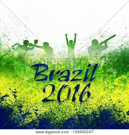 Stylish Text Brazil 2016 with silhouette of different sports players on Brazilian Flag color abstract background, Poster or Banner for  Games concept.